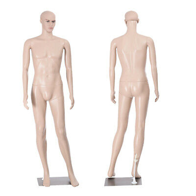 Plastic Male Full Body Realistic Mannequin Metal Base Head Turns Display 6FT