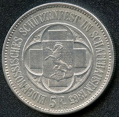 "Switzerland 1865 5 Franc "" Shooting Thaler "" Silver Coin (.835)"