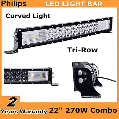 7D Tri Row 22Inch 270W Curved Led Light Bar Combo PK 120W OffRoad ATV 20//23//21