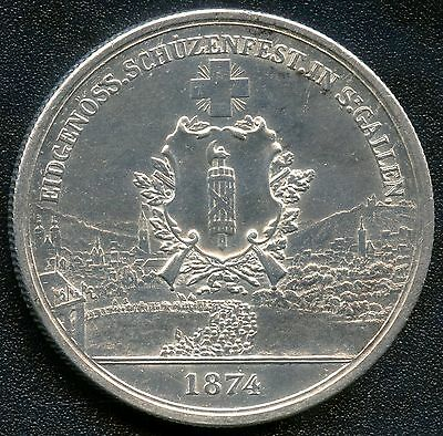 "Switzerland 1874 5 Franc "" Shooting Thaler "" Silver Coin (.835)"