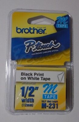 "1/2"" (12mm) Black on White P-touch M Tape for Brother PT-90, PT90 Label Maker"