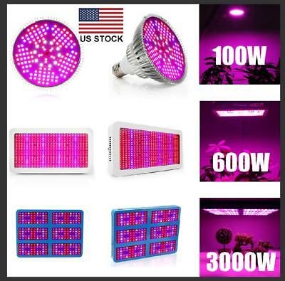 US 100W 600W 3000W LED Grow light Panel Plant Hydroponic Veg Bloom Full Spectrum