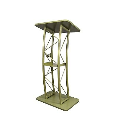 Bronze Color Curved Podium Church Podium Truss Metal Wood Pulpit School Lectern