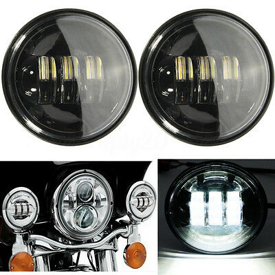 2x 4-1/2'' Black LED Auxiliary Spot Fog Passing Light Lamp For Harley Motorcycle