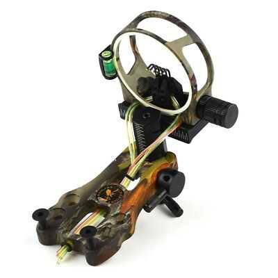 BLACK/CAMO 0.019 FIBRE OPTIC 5 PIN BOW SIGHT FOR COMPOUND BOW w/ LED LIGHT