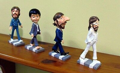 THE BEATLES: CARTOONS DOLLS FIGURES ABBEY ROAD-BRAND NEW SET-In Box-PIN FREE!!