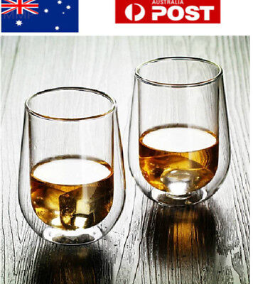 2pc 200-450ml Double Wall Glass Tea Coffee Cup Heat-resistant Double Layer Glass