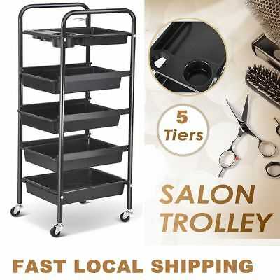 5 Tier Hairdresser Cut Beauty Coloring Salon Storage Hair Dryer Scissors Trolley