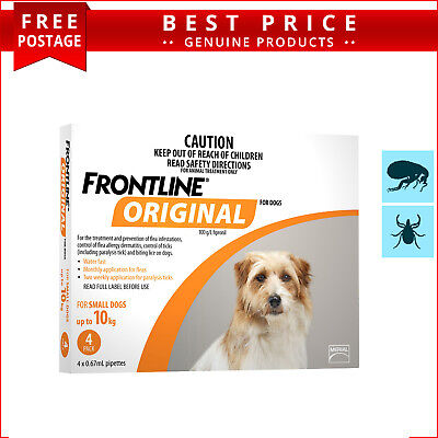 Frontline Original ORANGE for Dogs Up to 10 Kg 4 Doses Flea and Tick Prevention
