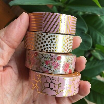 Washi Tape Set Gold Foil & Pink 4 Rolls X 15Mm X 10Mtr Planner Craft Scrap Wrap