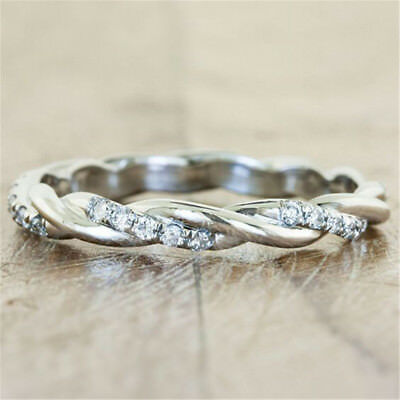 Infinity White Topaz 925 Silver Women Jewelry Wedding Engagement Ring Sz5-10