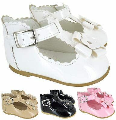 Girls Childrens Flower Summer Patent Spanish Party Shoes Kids Infants Wedding Sz