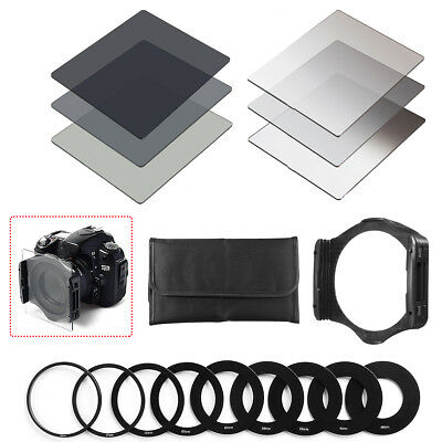 Neutral Density Filter ND2 ND4 ND8 Full Set + Holder +Ring Adapters For Cokin P