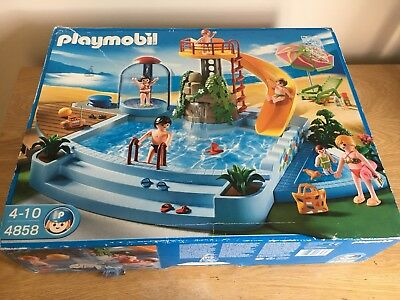 Playmobil Swimming Pool With Water Slide, Boxed With Working Shower