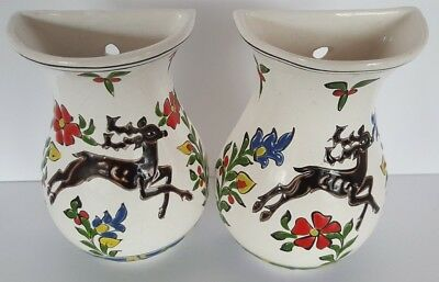 Vintage Hand Made in Rhodes Greece by DAKAS Wall Vase Set of 2