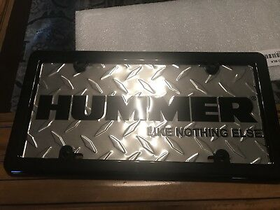 Hummer H1,H2, H3 Diamond Embossed Metal License Plate with Free Black Frame