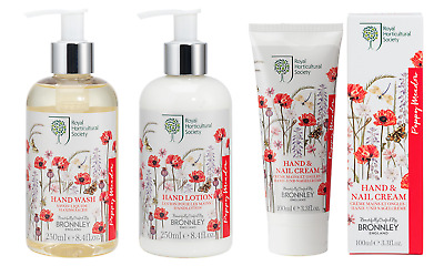 TRIO Bronnley POPPY MEADOW Hand Wash 250ml, Hand Lotion 250ml + Hand Cream 100ml