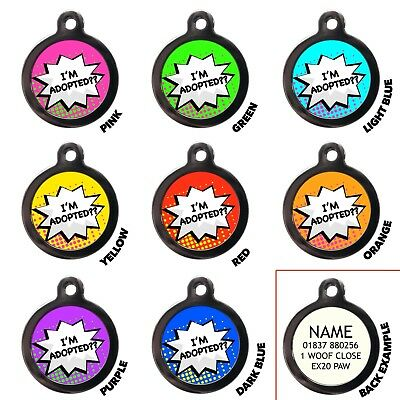 I'm Adopted Pet ID Tags Funny Personalised Dog Name Address Tags Engraved Free