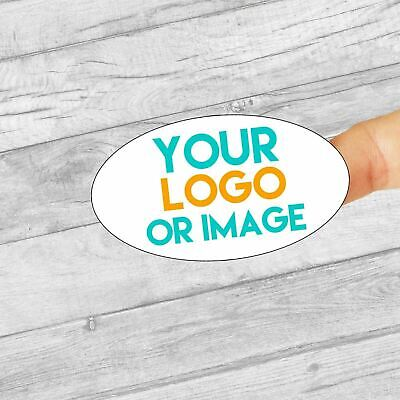 Custom logo oval 60mm x 34mm personalised business company name labels stickers