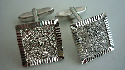 gold cufflinks diamod boutons de manchette OR BLANC DIAMANT 18 CARATS 750 12,87g