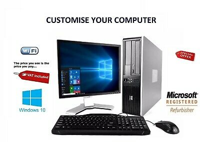 Full Dell/Hp Dual Core/Amd Desktop Tower Pc&Tft Computer System Windows 10