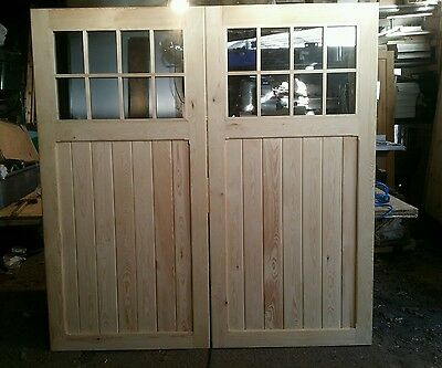 Wooden Timber Garage Doors With Windows 7 Ft High X 7 Ft Wide