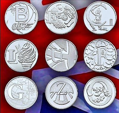 2018 10p Alphabet Coins - Angel, Bond, Cricket, Postbox, Robin, Zebra, Full Set