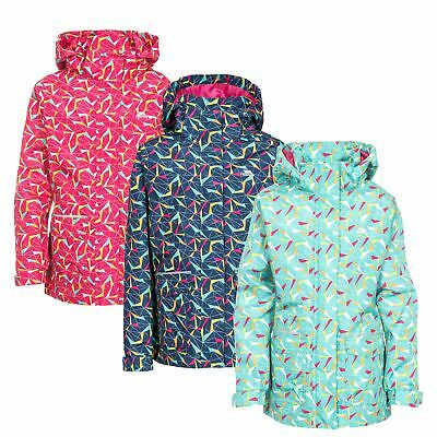 Trespass Twinkling Girls Waterproof Jacket Raincoat with Hood in Pink Navy Mint