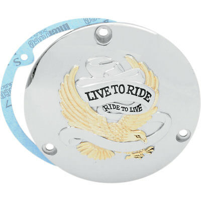 Drag Specialties Gold Live to Ride Derby Cover for 1970-1998 Harley Big Twin