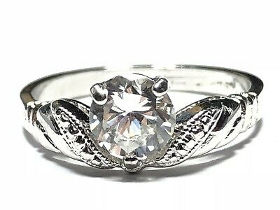 Beautiful Ladies Sterling Silver CZ Travel Engagemen Ring - A Must See - Size 8