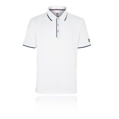 Fila Mens Mesh Tennis Polo Shirt White Sports Breathable Lightweight