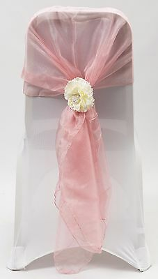 100 Dusky Pink Organza Chair Cover Hood Wrap Sash Bow