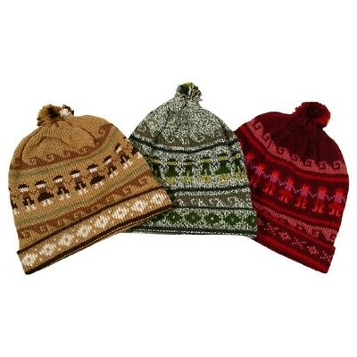 ab45ed28 Hand Knit Beanie Adult 100% Alpaca 3 Pack Wholesale Mix Lot Fair Trade Pom  Pom