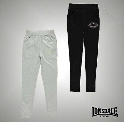 Junior Girls Branded Lonsdale Training Open Hem Jogging Bottoms Size Age 7-13