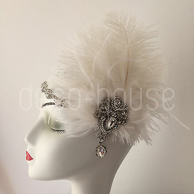 Ostrich Feather Fascinator Hair Clip Headband Gatsby Party 20s Bridal Headpiece