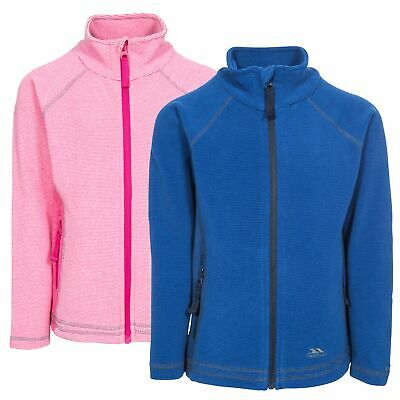 Trespass Bunker Girls Pink Jumper Kids School Fleece with 2 Zip Pockets
