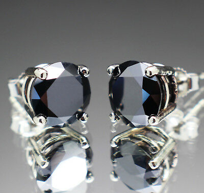 4.54tcw Natural Black Diamond 10K White Gold Earrings, Certified & $2870 Value