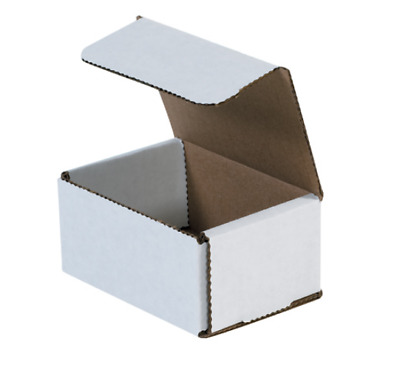 "Pick Quantity! 1-500 4x3x2"" White Corrugated Mailer Small Folding Box Light Ship"
