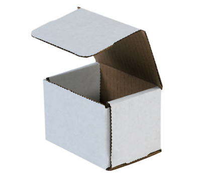 "Pick Quantity! 1-500 4x3x3"" White Corrugated Mailer Small Folding Box Light Ship"