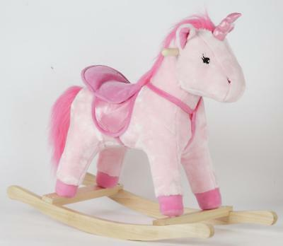 Pink Unicorn Rocking Horse Baby Toddler Infant Girl Kid Novelty Seat Fluffy Toy