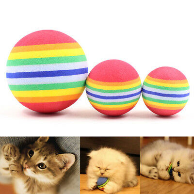 Colorful Pet Cat Kitten EVA Soft Foam Rainbow Play Ball Funny Activity Toy S/M/L
