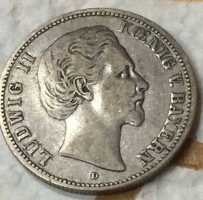 Big Sale!! Extremely Fine 2 MARK BAVARIA LUDWIG II 1883 D Coin