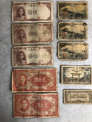 Vintage MILITARY Payment Currency---Lot of  10 Notes/ Bills WW 2