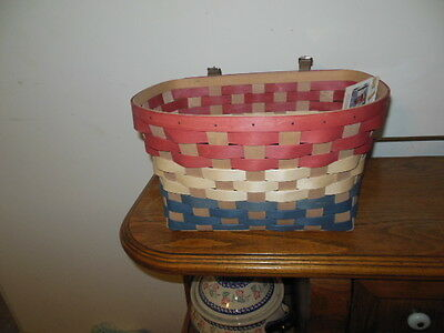 Longaberger WOVEN Bicycle Basket Red White and Blue AND a custom Protector!