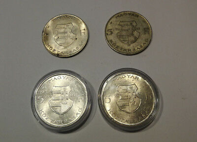 Five forints from 1946 and 1947 (four head of coins) SILVER