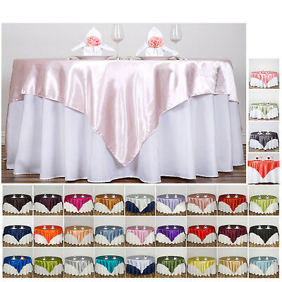 """60"""" SATIN Square Table Overlay For Wedding Catering Party Table Decorations"""