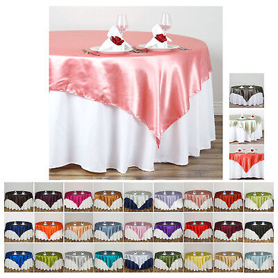 """72"""" SATIN Square Table Overlay For Wedding Catering Party Table Decorations"""