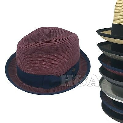 Men's Spring Summer Travel Crushable 2tone Derby Fedora Upturn Curl Brim Hat