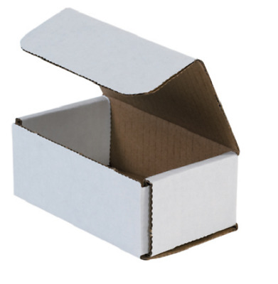 Pack of 100 Strong Corrugated Mailer 5x3x2 White Small Folding Mailing Box Light