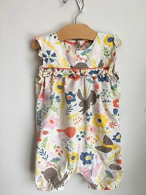 Baby Boden Girl 12 -18 Month Romper. Bird Bunny Floral Multi Color Ruffle Shorts